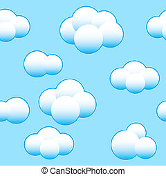 Abstract light blue sky background with white clouds. Seamless pattern. Vector illustration.