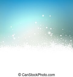 Abstract Light Blue Snow Particle and Stars Effect Holiday Season Greeting Card Background