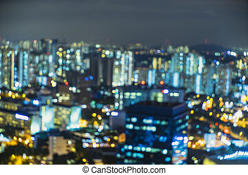 abstract light bokeh of cityscape on top view