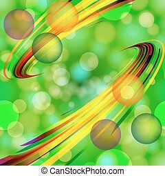 Abstract light bubbles  background  with bent lines.