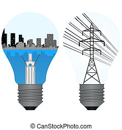 Circuit city buildings and electric tower with wires on a background light bulb. illustration on white background.