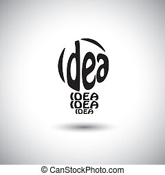 abstract light bulb idea icon using words - concept vector graph