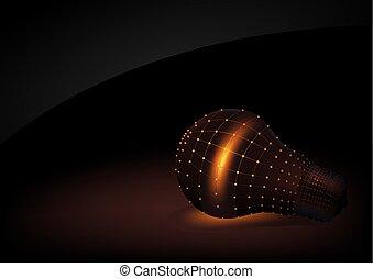 Abstract Light Bulb on Dark Background
