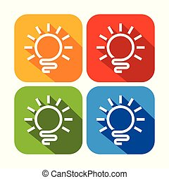 Abstract Light Bulb Rounded Square Icons