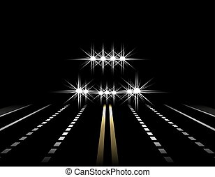 Abstract light effects. A car at night with lights in front. SUV. Road, highway, street. illustration