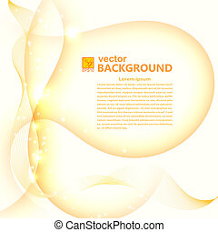 Abstract light golden background with flares. Vector illustratio