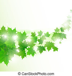 Abstract light green background with flying maple leaves....
