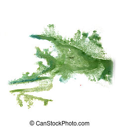 abstract light green hand drawn watercolor blot insult...