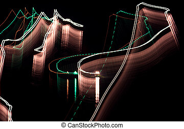 Abstract light lines on the black background, long exposure