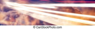 abstract light trail on a fantasy sky clouds