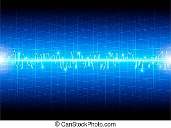 Abstract light wave concept with grid on blue background technology
