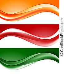 Abstract light wavy lines set in orange green red colors and...