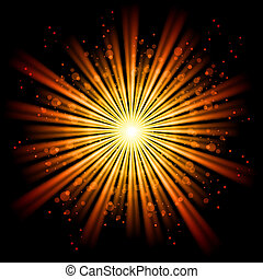 Abstract light - Yellow bursting star isolated in black...
