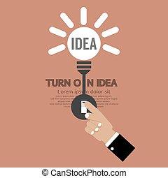 Abstract Lightbulb Turn On Idea.