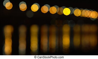Abstract lights and their reflections in the water bokeh background