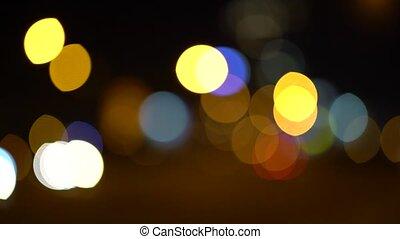 Abstract lights car headlights bokeh background