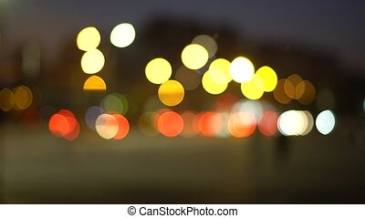 Abstract lights night city bokeh background