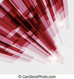 abstract, lijnen, perspectief, achtergrond, recht, rood