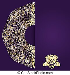 Abstract lilac background with gold lacy mandala pattern.
