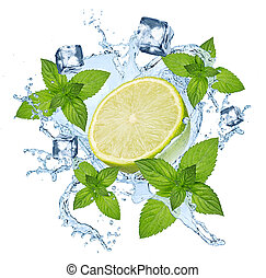 abstract lime mint beverage water splash