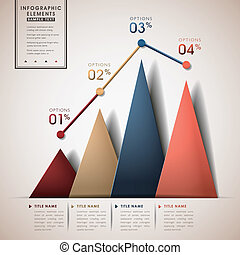 abstract line and triangle chart infographic elements