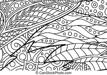 Abstract line art for coloring book page