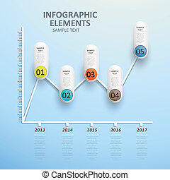 abstract line chart infographics - modern vector abstract ...