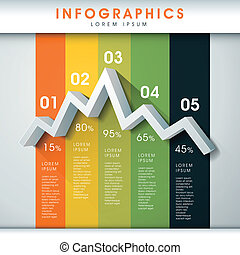 abstract line chart infographics - modern vector abstract...