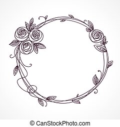Abstract line elegant floral frame as element for wedding , birthday, valentines day and other romantic design. Wreath of rose flowers.