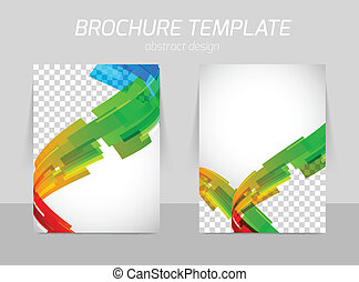 Brochure abstract line motion back and front side design with space for image