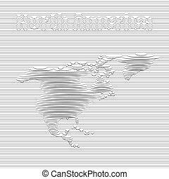 North America map - Abstract line of North America map on...