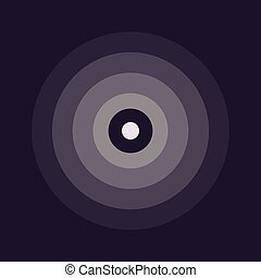 abstract line ripple emblem. Radar, sound or vibration icon. Flat design. Dark background.