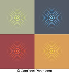 abstract line ripple emblem set. Radar, sound or vibration icon. Flat design.