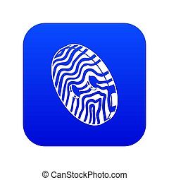 Abstract linear clothes button icon blue