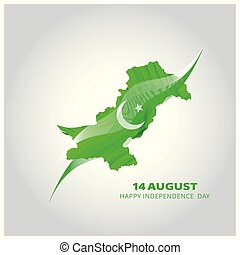 Abstract lines background with moon design elements on white background. Vector 14 August. Pakistan Independence Day. Celebration Card. Illustration