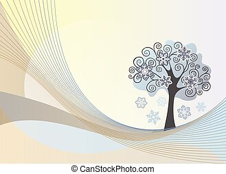 Abstract lines background with winter tree
