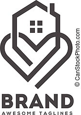 abstract lines house and heart logo