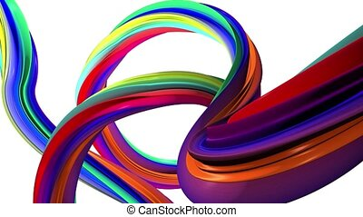 Abstract lines in the rainbow colors . White background