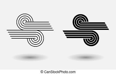 abstract lines logo or icon. black and white background