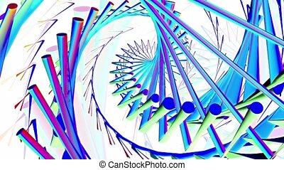 Abstract lines of different colors on white