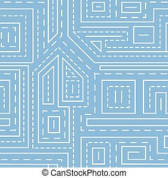 Abstract lines seamless pattern on blue background