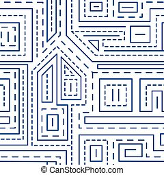 Abstract lines seamless pattern on white background