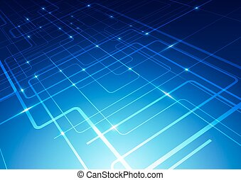 Abstract Lines Technology Blue Background