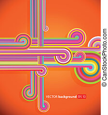 Abstract lines with orange background.