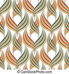 Abstract linocut style leaves decorative seamless vector pattern background. Damask effect backdrop of overlapping foliage. Stylized geometric design in red, green white. All over print for packaging.