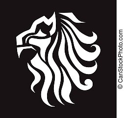 Abstract Lion On Black Background Vector Illustration