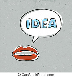 Abstract lips talk idea word. Vector illustration, EPS10