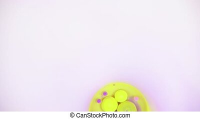 Abstract liquid background with bubbles and lines - Yellow...