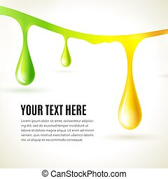 Abstract liquid colored drops. Business presentation concept