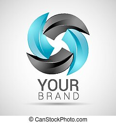 abstract logo black turquoise vector 3d icon